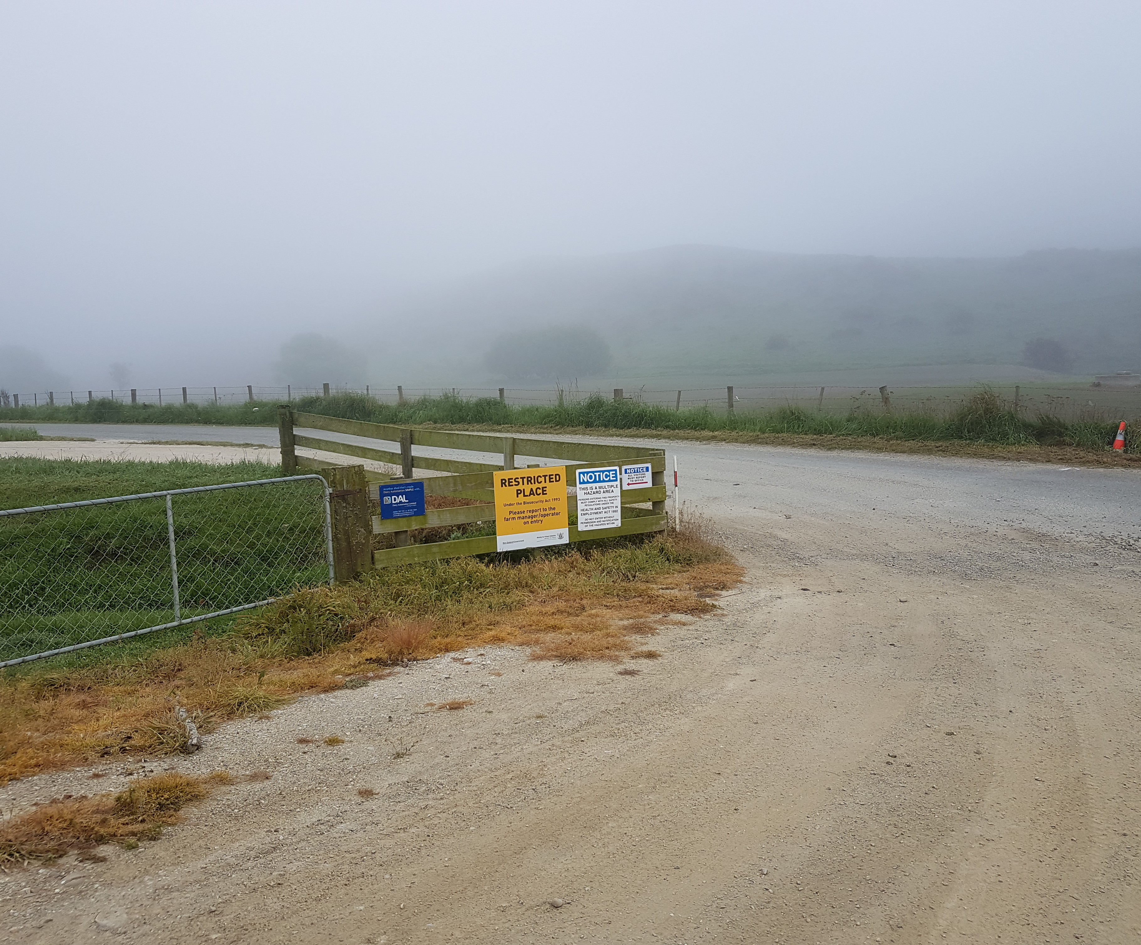Restricted Place notice on farm gateway